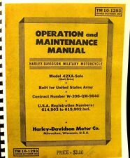 1942 Harley-Davidson Operation & Maintenance Manual For The TM10-1293 FSH
