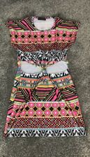 Missguided Aztec Black Pink Cut Out Tie Knot Dress M/L 10/12 Summer Beach Casual