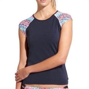 ATHLETA Moxi Rashguard Tee Blue Print XL 16 New Retail $52