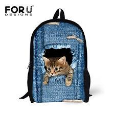 Blue Backpack School Bags Women Girl Book Bag Cute Cat Back Pack Schoolbag Kids