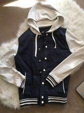 Asos Men's Summer Baseball Style Jacket Hoddie With Hood Navy White Button S
