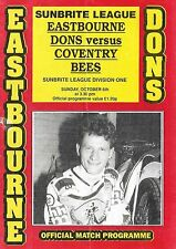 Speedway Programme>EASTBOURNE DONS v COVENTRY BEES Oct 1991