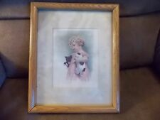 Collectable Vintage Picture Of Girl With Puppy And Kitty In Oak Frame