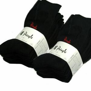 8 Pack of Pringle Black Cotton Mens Trouser Socks 8 Pairs Size UK 7-11