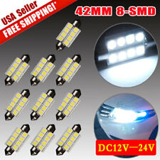 10x Pure White 42MM Festoon 8smd Led License Plate Interior Dome Map Light bulb