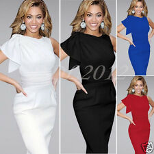 Fashion Women Ruffle Sleeve Bodycon Party Cocktail Evening Pencil Formal Dress