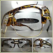 OVERSIZE VINTAGE HIP HOP RAPPER Style Clear Lens EYE GLASSES Tortoise Gold Frame