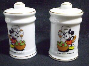 Disney Mickey Mouse Salt & Pepper Shakers Salad Making Chef Ceramic Walt Disney