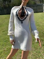 Free People Sweater Dress White Black Floral Boho Crochet Knit Size Small Dress