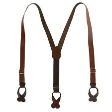 New CTM Men's Coated Leather Button-End 1 Inch Suspenders
