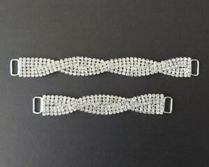 17cm 12cm Silver Twist Bikini Connectors 1.7cm Width (Rhinestone Bridal)