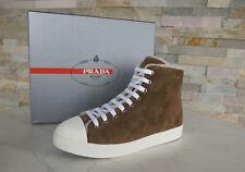 Prada talla 39 High Top sneakers oveja fell zapatos schnürschuhe marrón nuevo PVP 590 €