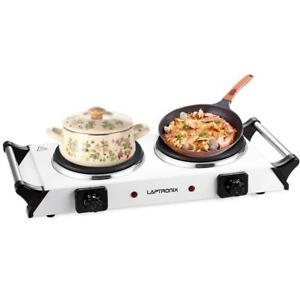 2500W PORTABLE ELECTRIC COOKER DOUBLE HOB HOT PLATE TABLE TOP WHITE HOTPLATE