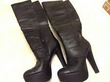 Jessica Simpson Womens Black Fashion high Boots Shoes size 8 Preowned