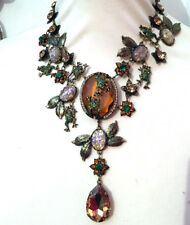 Butler and Wilson Brown Crystal Cabochon Frog and Leaves Drop Necklace New