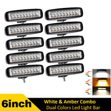 10pcs White & Amber 6inch Offroad LED Work Light Bar Fog Driving For Truck ATV