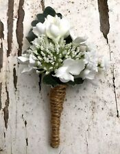 Silk wedding flower groom button holes buttonhole rustic lilac blossom flowers