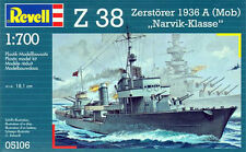 "REVELL REF.05106 Z 38 ZERSTORER 1936 A ( MOB ) "" NARVIK-KLASSE "" ECH.1/700"