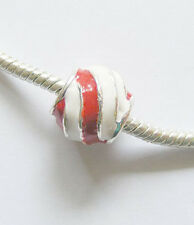 1 Metal Enamel Charm Bead for Charm Bracelets - Red & White - 15mm x 10mm