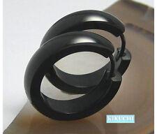 Herren Damen Ohrringe Edelstahl Creolen 22mm Ø XL Titan schwarz pl. Hochglänzend