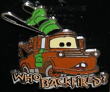 """Disney CARS Tow Mater w/ Goofy Hat """"Who Backfired?"""" Pin NEW ON ORIGINAL CARD"""