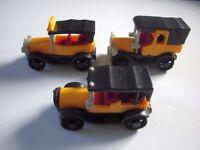 YELLOW VINTAGE MODEL CARS 1900's SET 1:87 H0 - KINDER SURPRISE MINIATURES