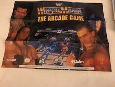 "WWF WrestleMania The Arcade Game Super Nintendo SNES 2-Sided Poster 15""x11"" VG"