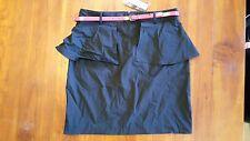 Hot Options Black with red belt peplum skirt sz14 RRP$38.00 BNWT free post E7