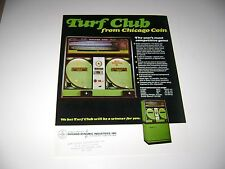 1974 Chicago Coin Turf Club Arcade game Original sales flyer brochure