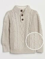 Baby Gap Boy's Oatmeal Cable-Knit Mockneck Sweater Size 2T 3T  5T