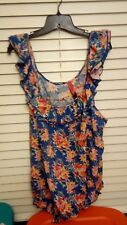 Pure energy sz 4 plus  pretty powder blue floral and ruffled tank top