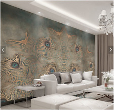 3D Sitting room bedroom TV background Embossed Peacock feathers wallpaper WT2215