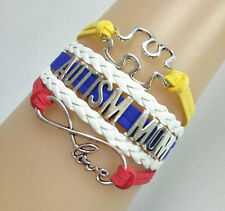 """Hot Infinity Love """"AUTISM MOM"""" Puzzle Sign Charms Suede Leather Bracelet Custom"""