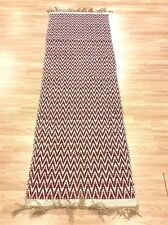 RED CREAM CHEVRON Handmade Cotton REVERSIBLE Washable RUG RUNNER 70x200cm 40%OFF