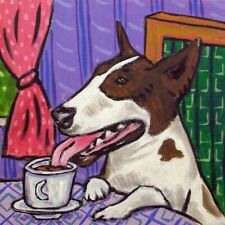 bull terrier at the coffee s 00006000 hop dog art tile coaster