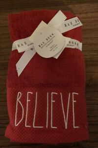 Rae Dunn 2pk Red BELIEVE Christmas Hand Towels New