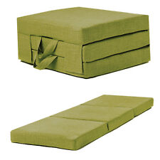 Lime Linen Effect Single Chair Z Bed Folding Futon Fold Out Foam Guest Mattress