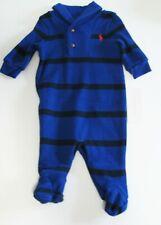 Polo Ralph Lauren Baby Boys Striped French Rib Coverall Royal Multi Sz 6M - NWT