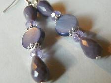 """""""Purple Crystal Glass Jade Teardrop Earrings-Sterling Hooks-Combined.Shipping"""