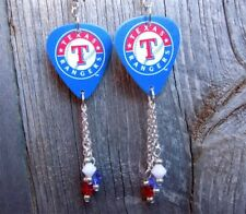 MLB Texas Rangers Guitar Pick Earrings with Swarovski Crystal Dangles