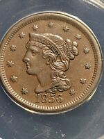 1856 braided hair large cent Slanted 5 Anacs Au50 Choice Original Coin