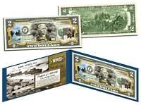 WORLD WAR II * D-DAY NORMANDY LANDINGS * Colorized $2 Bill US Legal Tender WWII