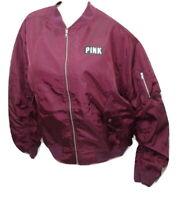 Victoria's Secret Pink Flight Jacket Coat Bomber Full Zip Maroon Large NWT