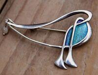 Vintage Brooch Sterling Silver Blue Enamel Pin PAT CHENEY Jewellery Jewelry