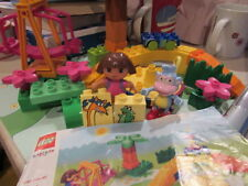 Lego Duplo 7332 Dora & Boots At The Park Complete w/ Mat, Swing, Merry-Go-Round