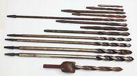 Vtg antique twist bits wood metal working brace bit hand drill 13 pcs