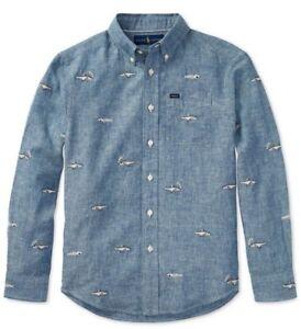Polo Ralph Lauren Boys Blue Bonefish Embroidered Chambray Linen Pocket Shirt