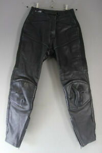 ASHMAN BLACK COWHIDE LEATHER BIKER TROUSERS SIZE 12 - WAIST 28IN/INSIDE LEG 30IN