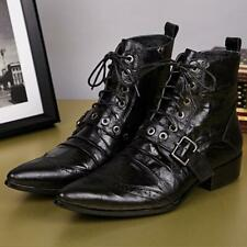 Men's Size 5-12 Genuine Leather Formal Dress Ankle Boots Pointy Toe Buckle Shoes