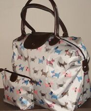 Westie/Scottie Dog Print Bag Travel Bag/ Holdall and Matching Wash Bag